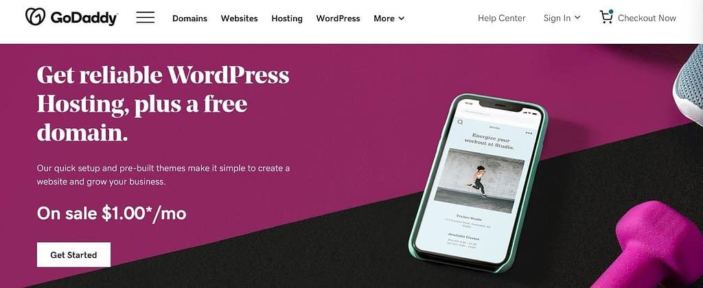 godaddy wordpress hosting plan $1/mo promo code