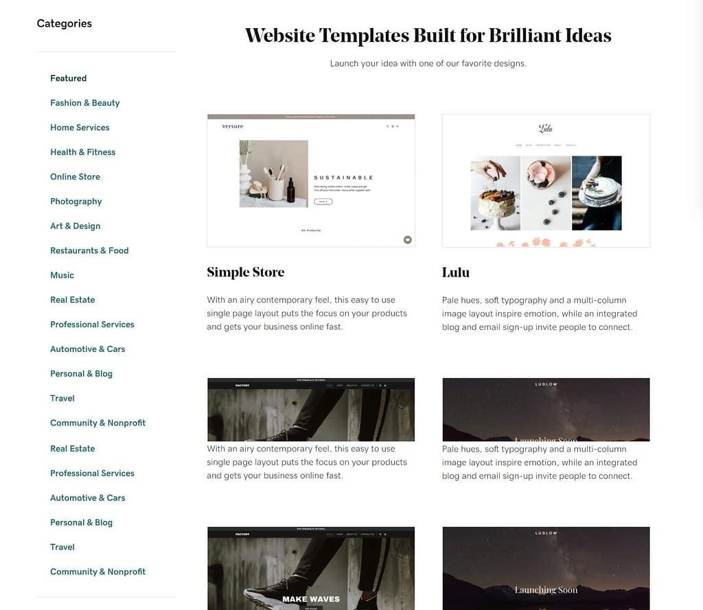 godaddy website builder templates