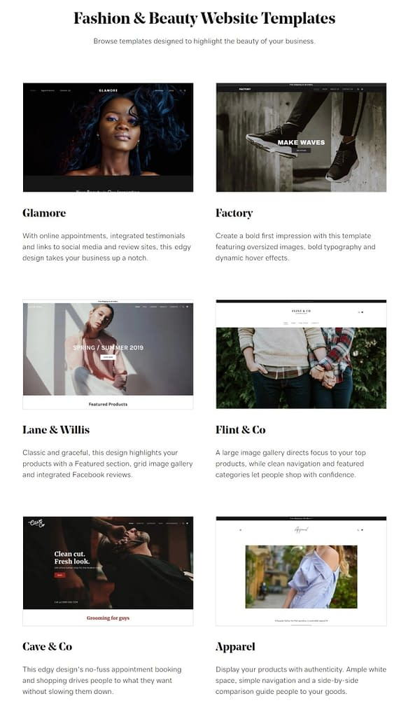 godaddy fashion and beauty template